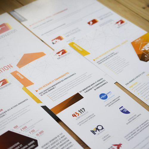 Création d'une pochette à rabat et de quatre flyers avec un format personnalisé et gestion de l'impression