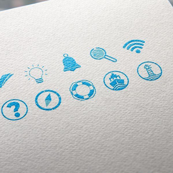 Création de pictogrammes pour enrichir les présentations power point organisateurs et conférenciers pour l'événement Blue Med Days organisé par le pôle mer méditerranée à Toulon dans le var