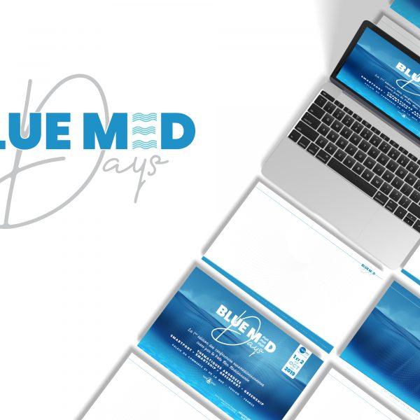 Création de pages types gabarit pour les power point organisateurs et conférenciers pour l'événement  Blue Med Days organisé par le pôle mer méditerranée à Toulon dans le var