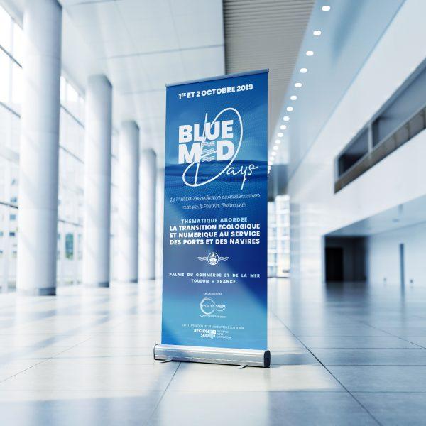 Réalisation de la PLV de l'événement Blue Med Days organisé par le pôle mer méditerranée à Toulon dans le var